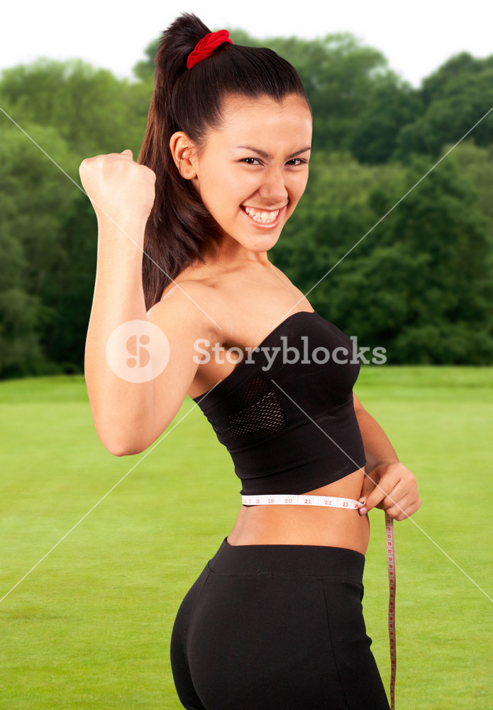 Healthy Girl Exercising Outside