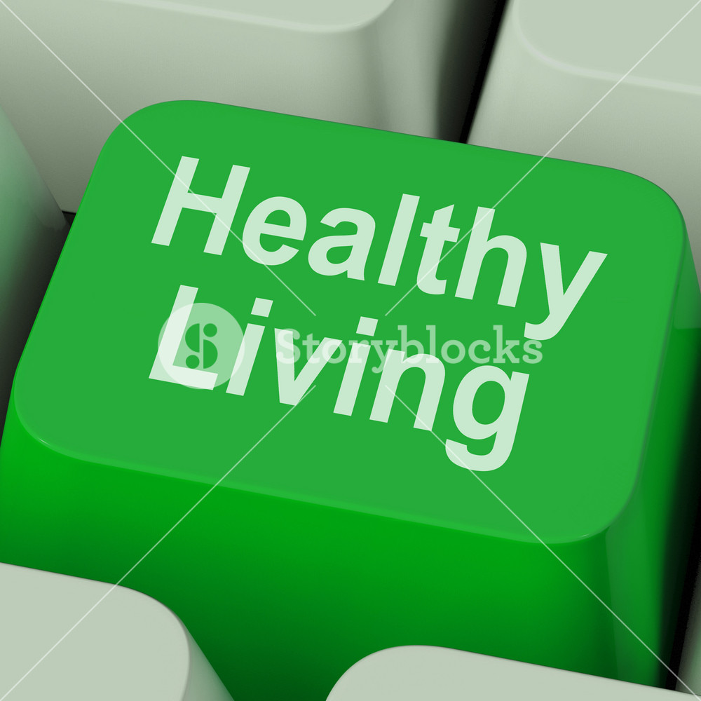 Healthy Living Key Shows Health Diet And Fitness