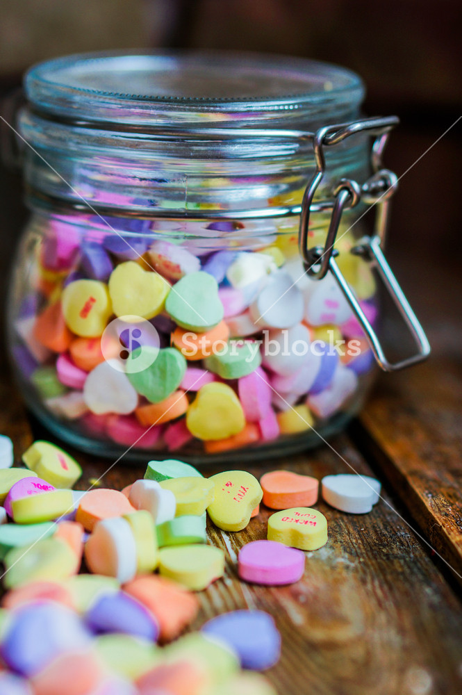 Heart Candies On Rustic Wooden Background