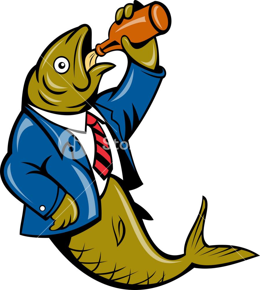 Herring Fish Business Suit Drinking Beer Bottle