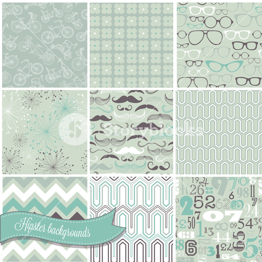 Hipster Retro Seamless Backgrounds