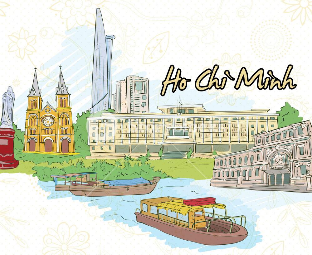 Ho Chi Minh Doodles Vector Illustration