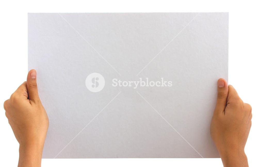 Holding Blank White Board