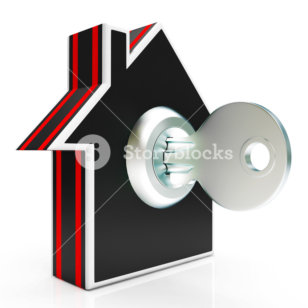 Home And Key Shows House Secure Or Locked