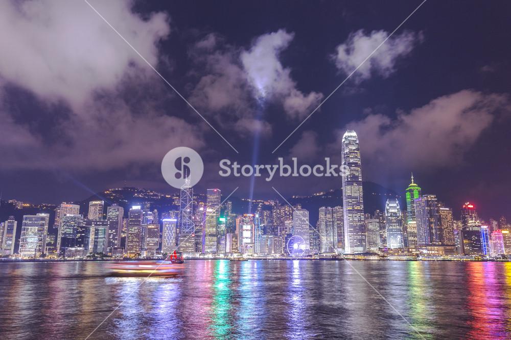 Hong Kong, China skyline from across Victoria Harbor.