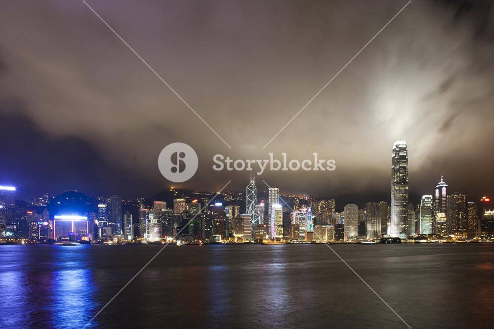 Hong Kong city night with cloud