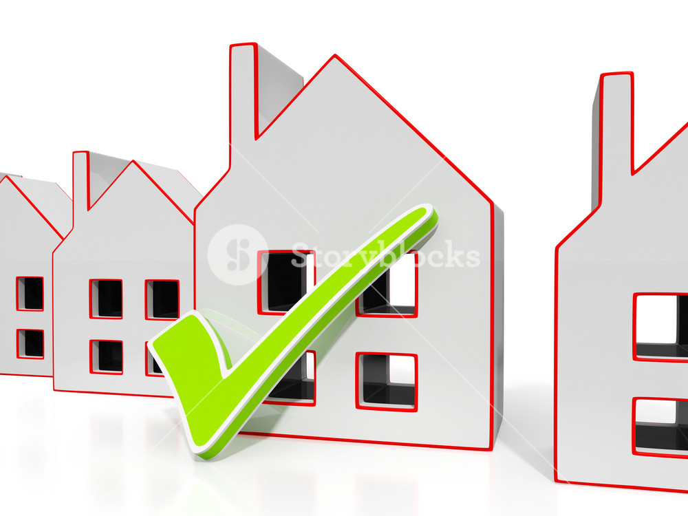 House Icons With Tick Showing House For Sale