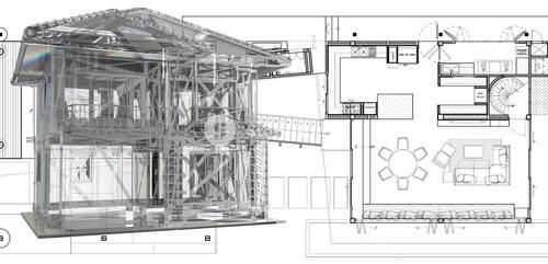 House Model On Blue Print