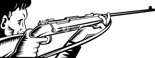 Hunter Aiming Rifle Woodcut