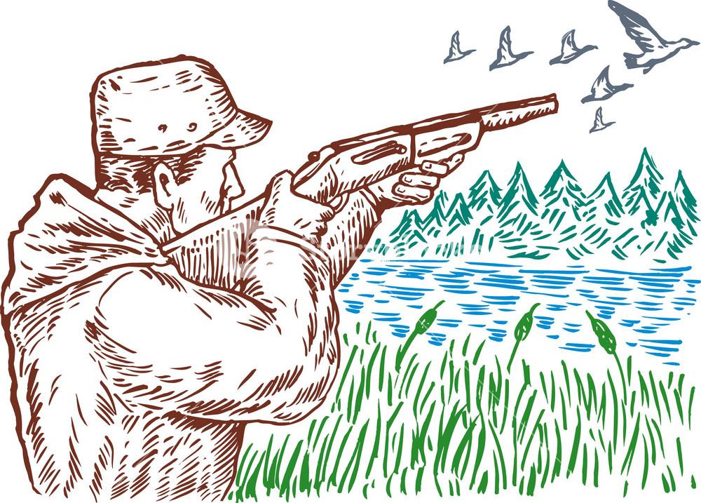 Hunter Aiming Shotgun Rifle
