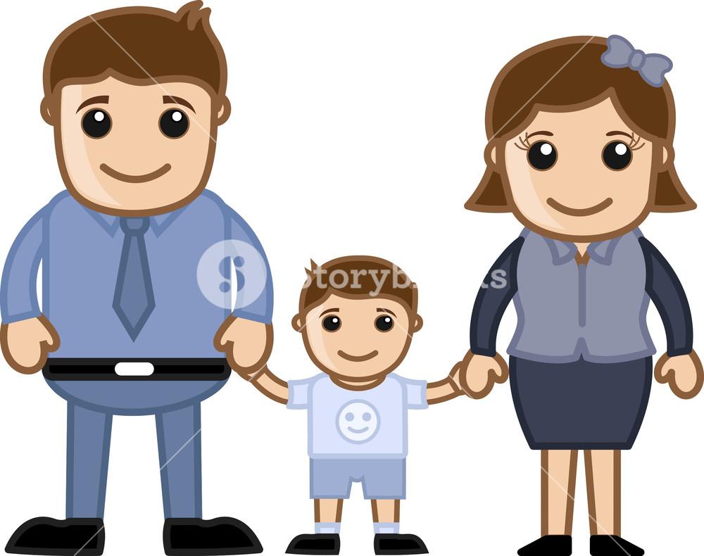Husband Wife And Child Vector Cartoon Character Family Illustration Royalty Free Stock Image Storyblocks