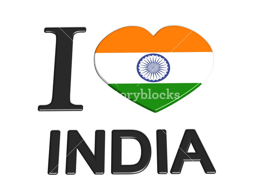 I Love India Logo Flag Love Travel Tourism