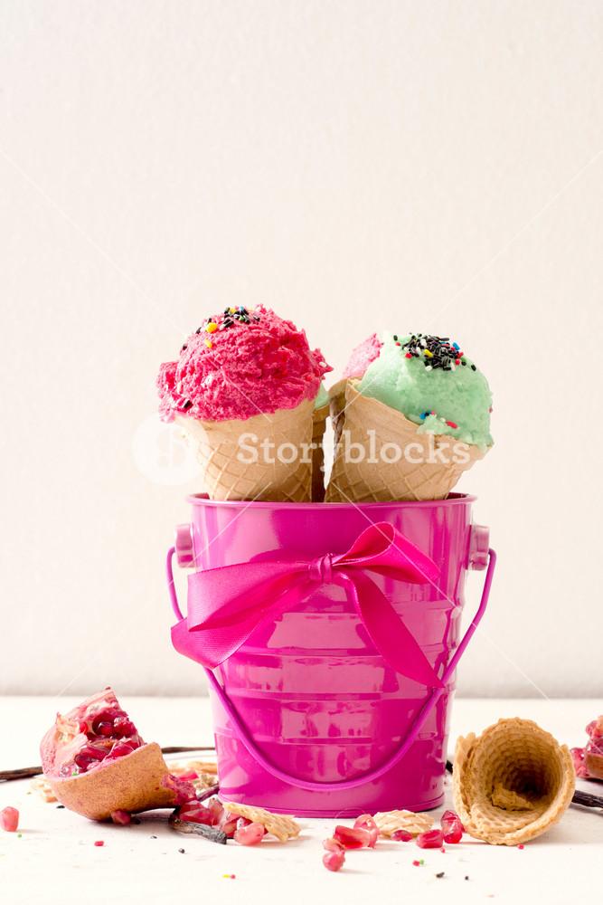 Ice Cream In Pink Bucket