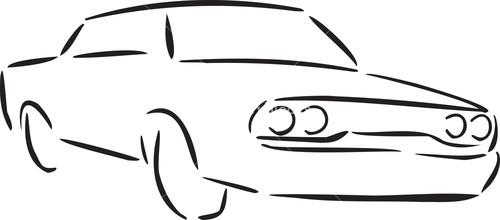 Illustration Of 1970's Car.