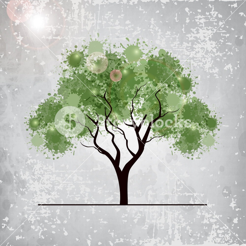 Illustration Of A Green Treen On Grungy Grey Background.