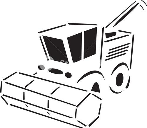 Illustration Of A Harvesting Machine.