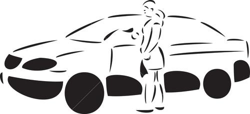 Illustration Of A Lady Washing Car With Sponge.