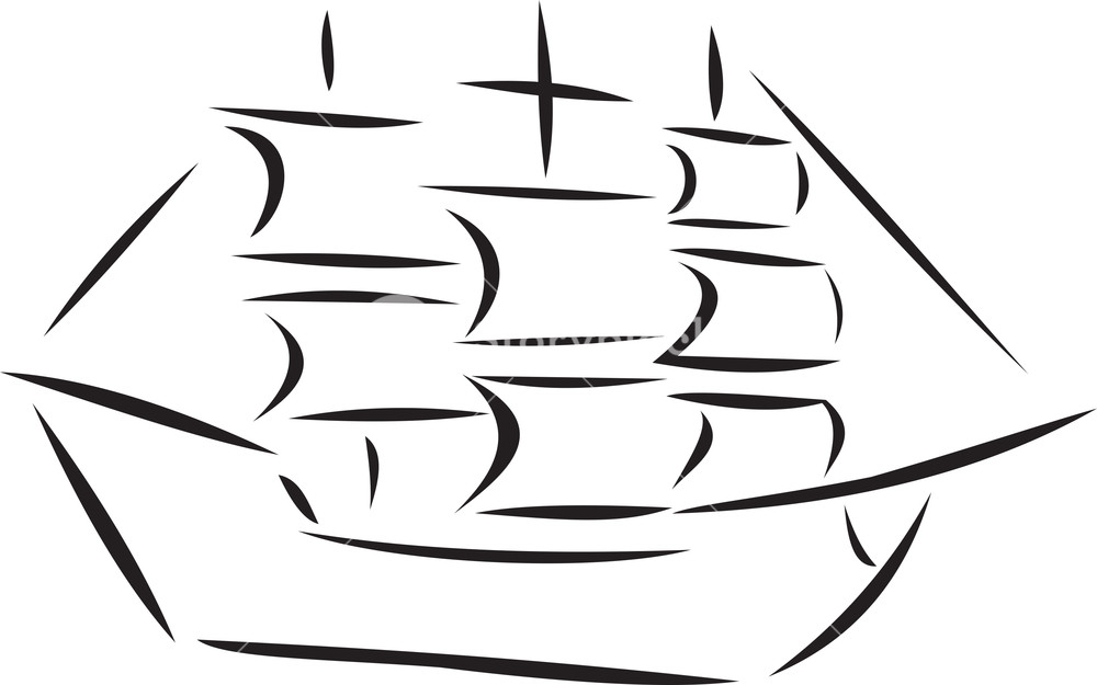 Illustration Of A Rigged Ship.