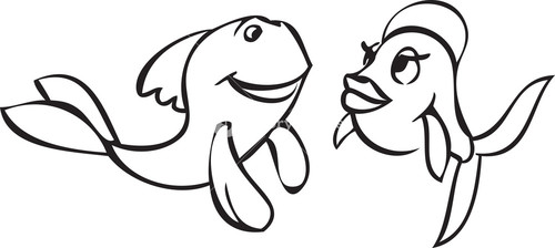 Illustration Of A Smiling Fishes.