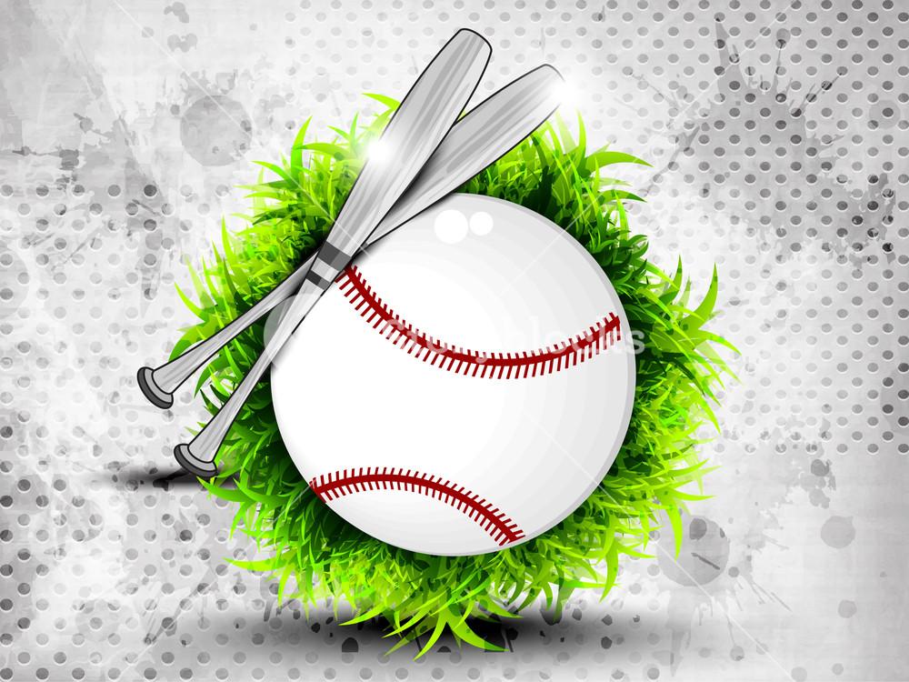 Illustration Of American Baseball On Grungy Grey Background.