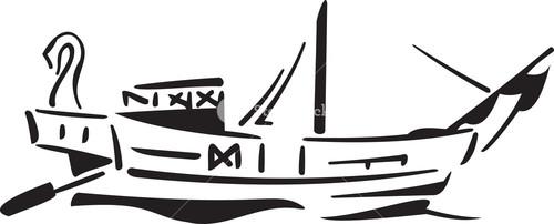 Illustration Of Ancient Greece Boat.