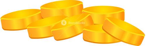 Illustration Of Gold Coins On White Background