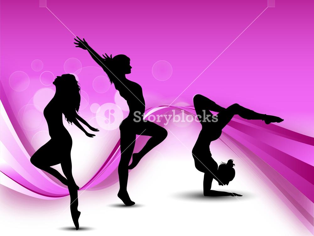 Illustration Of Rhythmic Gymnastic Girls On Pink Wave Background