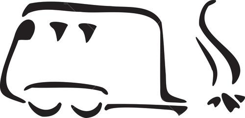 Illustration Van With Bonfire.