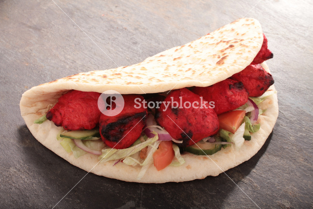 Indian Tikka Shish Doner Wrap Sandwich