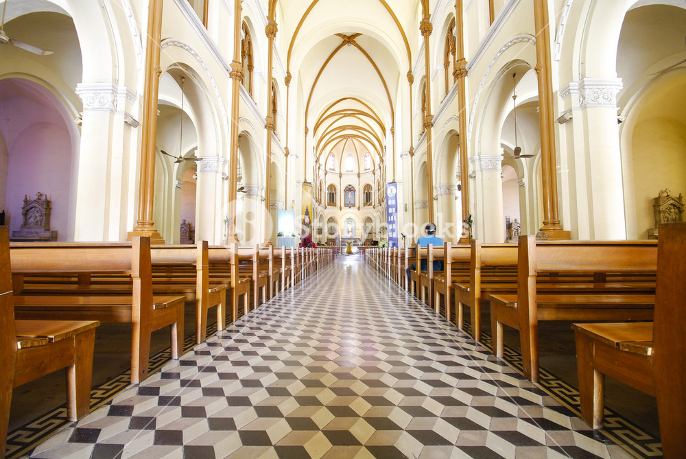 Interior and ceiling of historical building Saigon Notre-Dame Basilica in Ho Chi Minh City, Vietnam