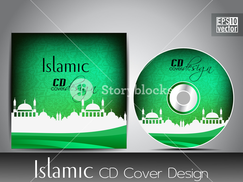 Islamic Flyer Or Brochure And Cover Design With Mosque Or Masjid Silhouette With Wave And Grunge Effects In Green Color. Eps 10
