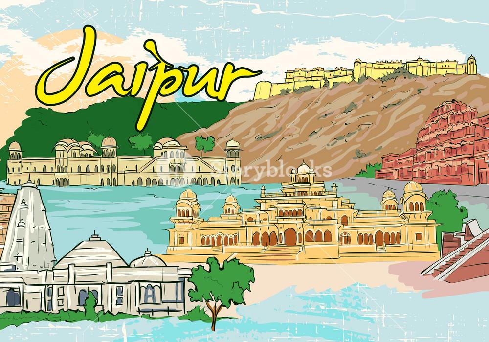 Jaipur Doodles Vector Illustration