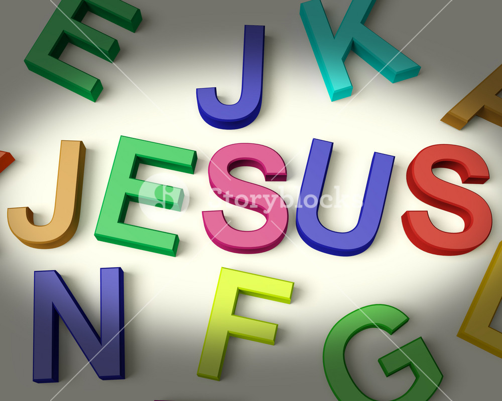 Jesus Written In Plastic Kids Letters