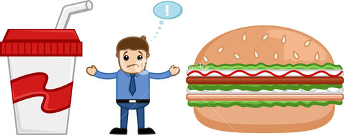 Junk Food - Cartoon Man Standing In Between Burger And Cold Drink