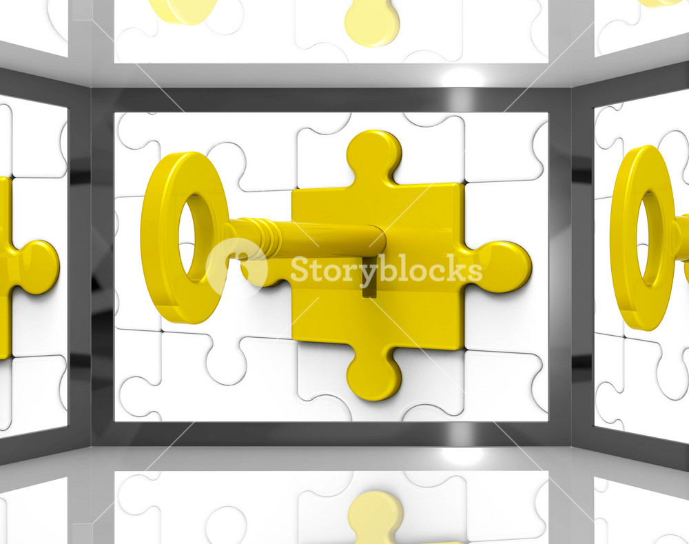 Key In Lock On Screen Shows Security Guards