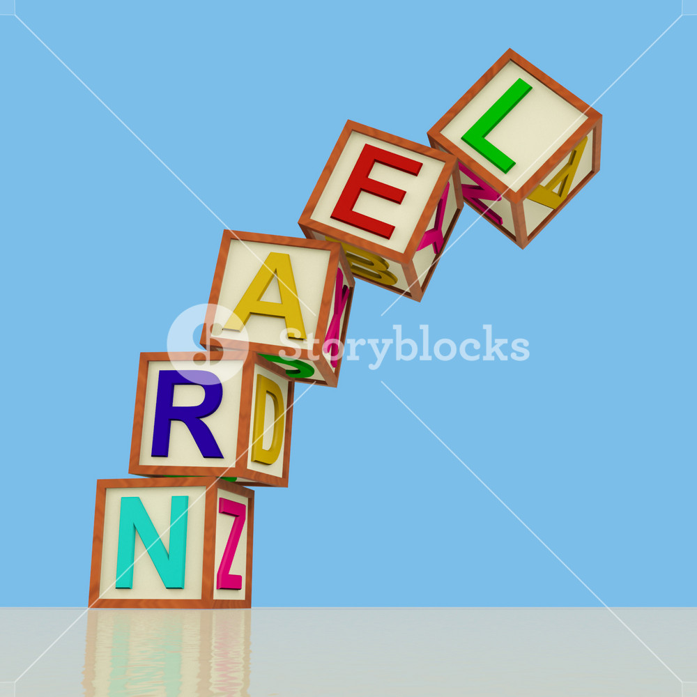 Kids Blocks Spelling Learn Falling Over As Symbol For Study And Education