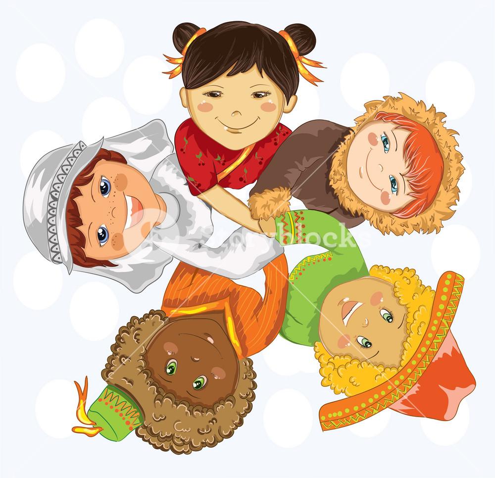 Kids Holding Hands Vector Illustration
