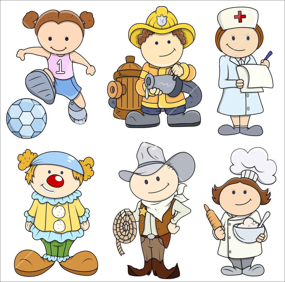 Kids In Various Professions - Vector Illustrations