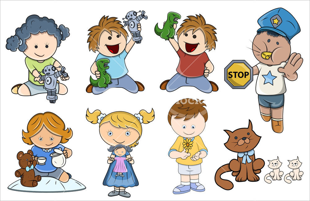 Kids Playing Different Games - Vector Illustrations