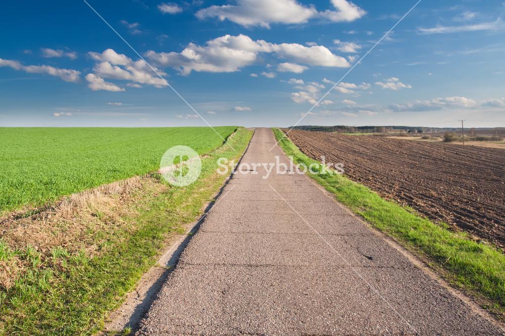 Landscape with rural asphalt road at sunset