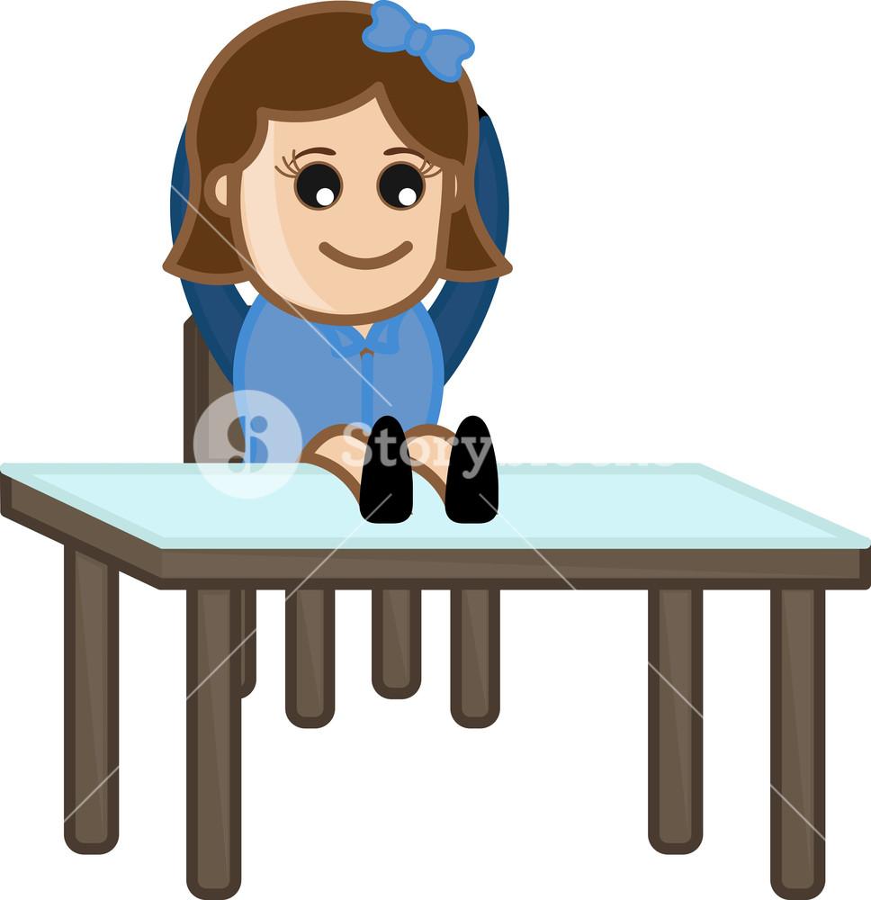 Lazy Female Receptionist Office Corporate Cartoon People Royalty Free Stock Image Storyblocks