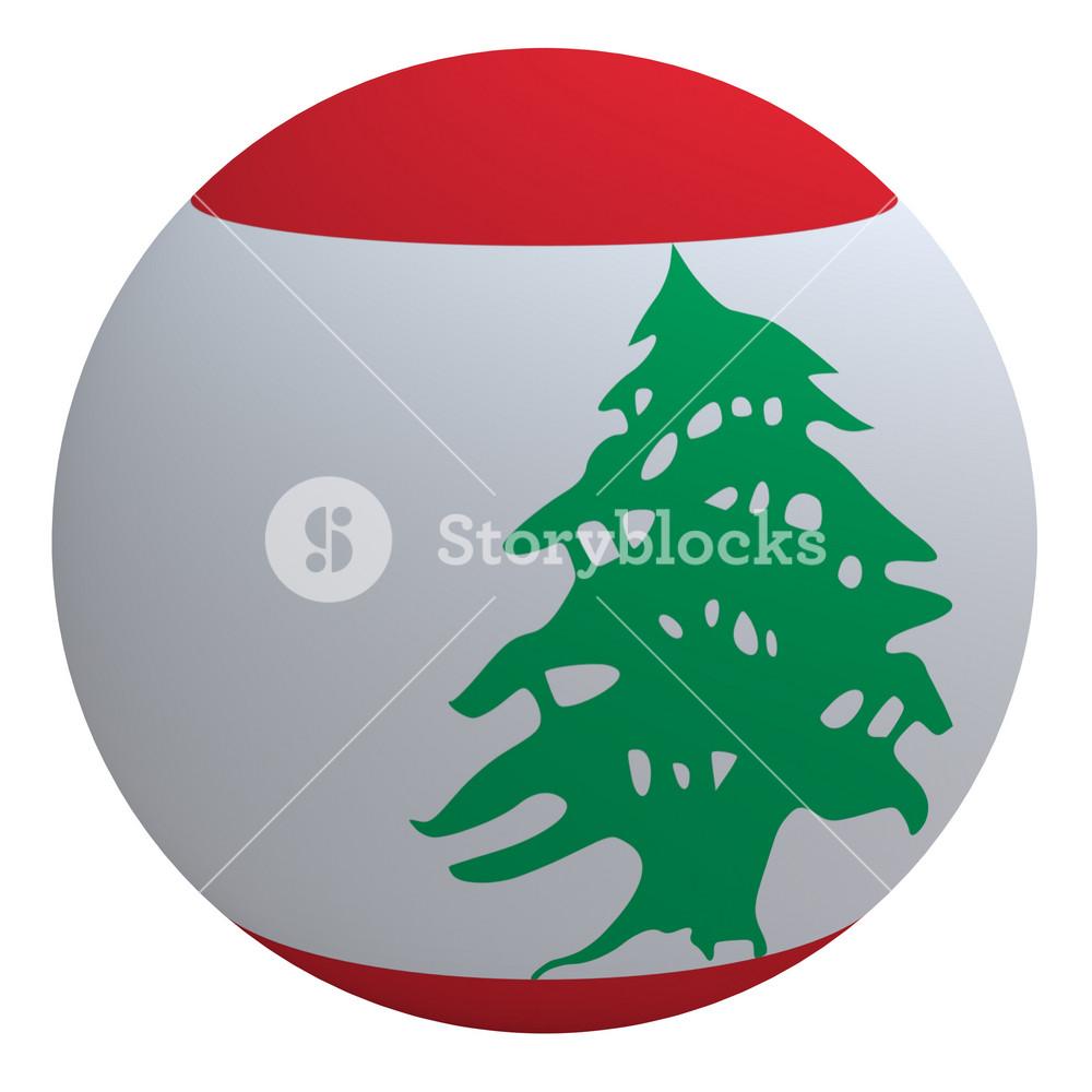 Lebanon Flag On The Ball Isolated On White.