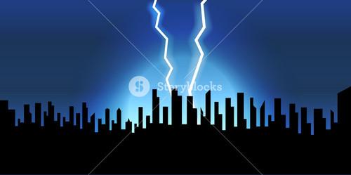 Lightning Skyline Background