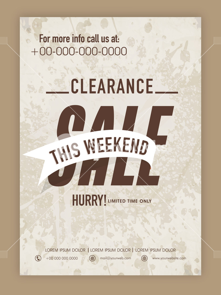 Limited Time Clearance Sale poster banner or flyer design on grungy background.