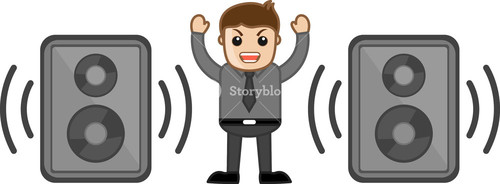 Loud Volume Speaker - Office Character - Vector Illustration