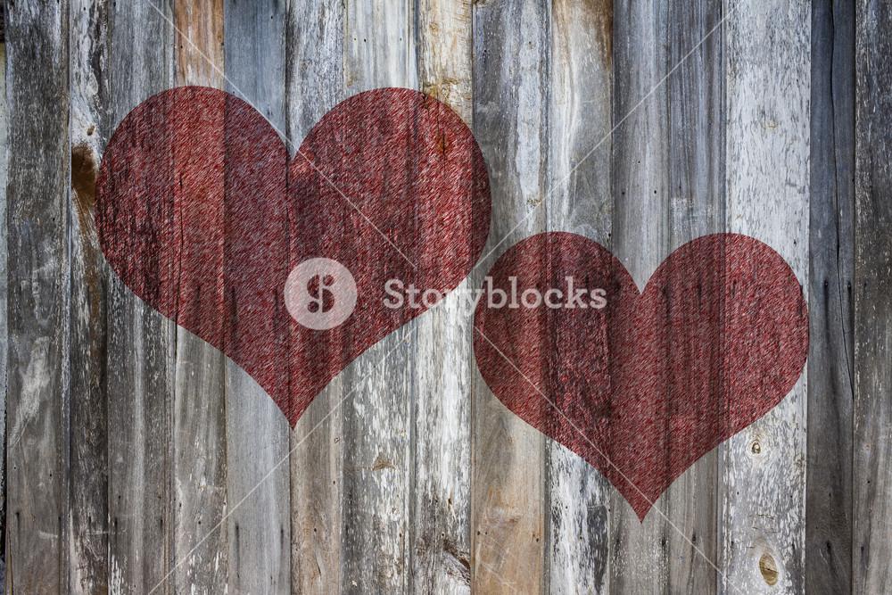 Love heart on vintage wood background texture