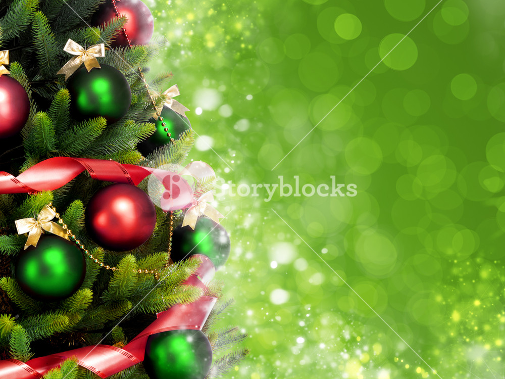 Magically decorated Christmas Tree with balls