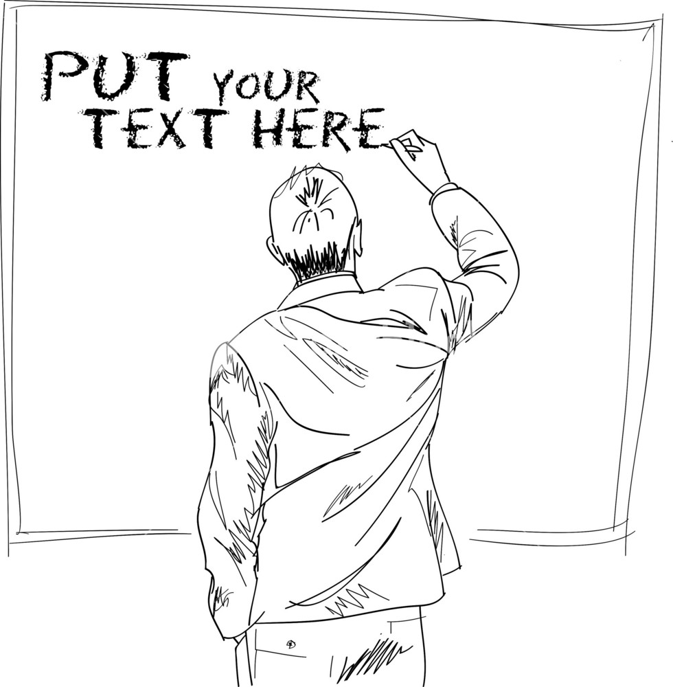 Male Writing Something On Board. Vector Illustration