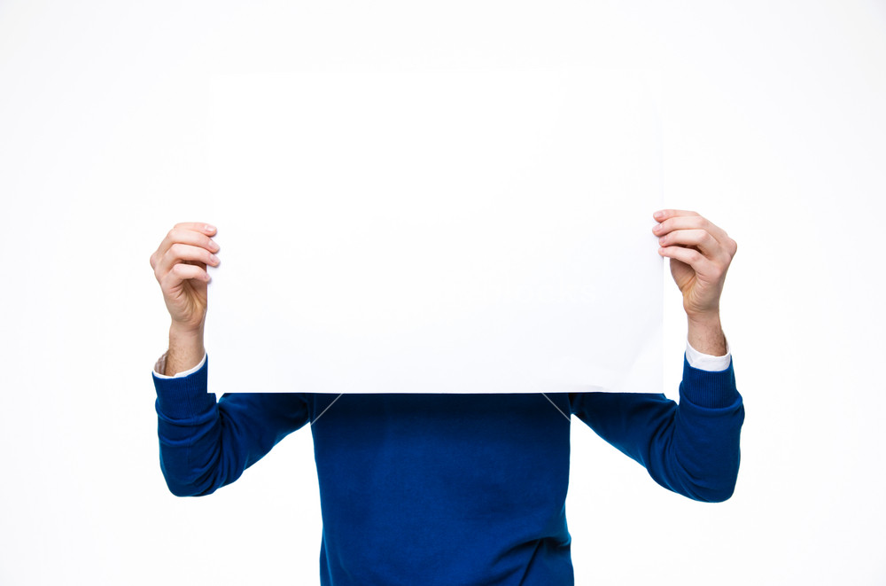 Man holding a blank paper over white background