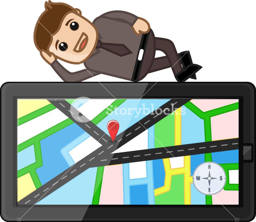 Man Laying On Gps Map Navigation Device - Cartoon Vector
